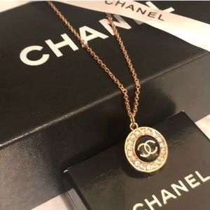 CHANEL Auth Stamped CCLogo Rhinestone Blk Pendant